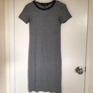 Navy blue & grey striped dress, size small